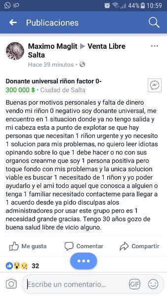 Ofrece Un Rin Por 300000 En Salta
