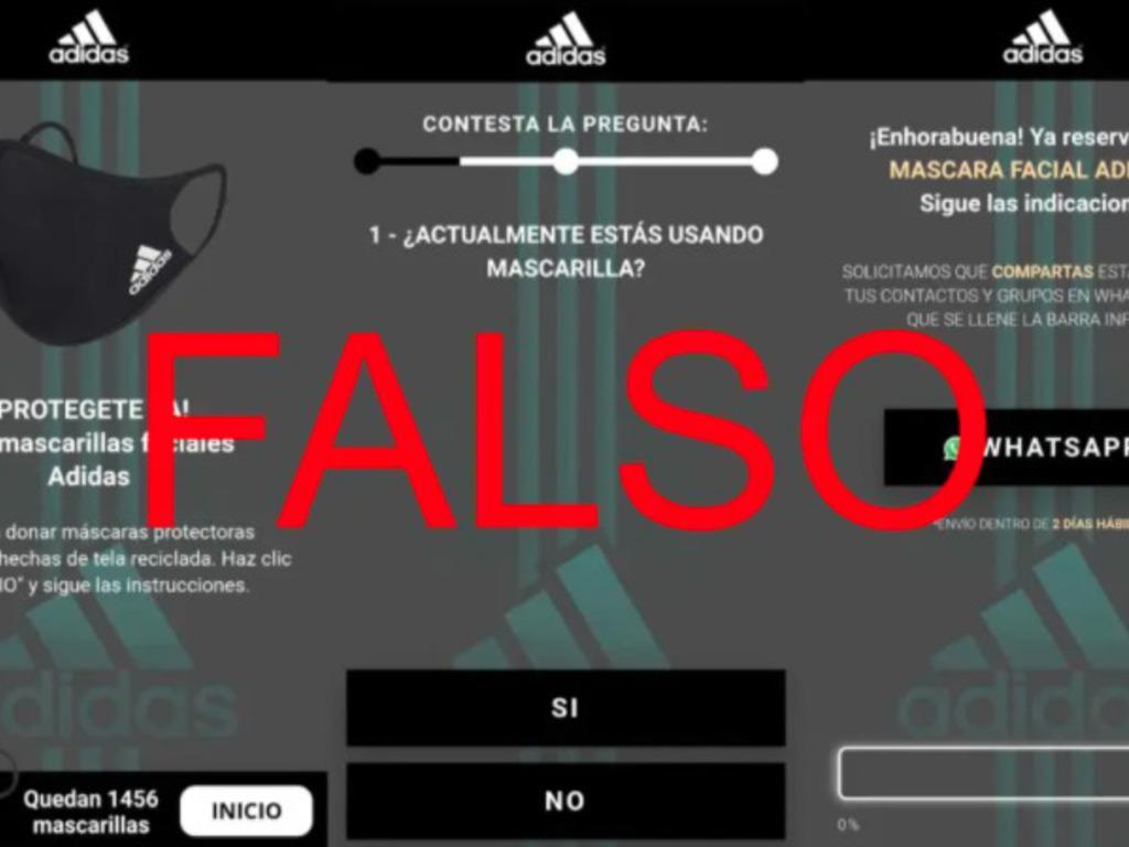 Atención con la nueva estafa: Adidas no regala tapabocas