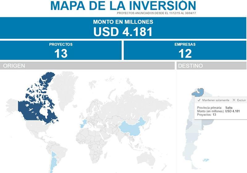 El mapa oficial de las inversiones en el país
