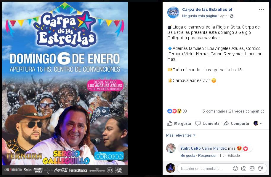carnaval de estrellas domingo