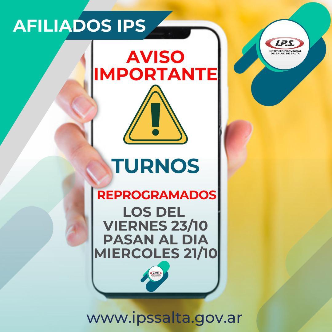 turnos reprogramado del IPS