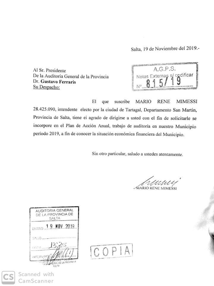 Pedido de auditoría de Mario Mimessi