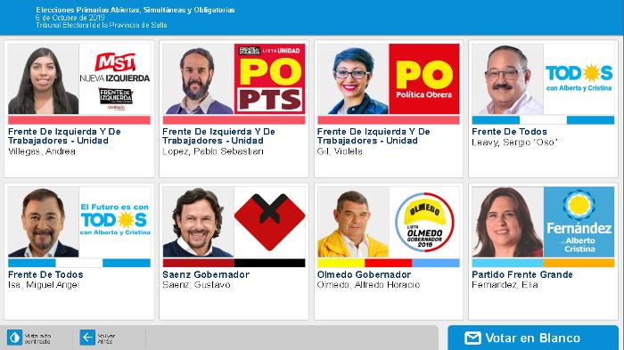 pantalla voto electronico - gobernador