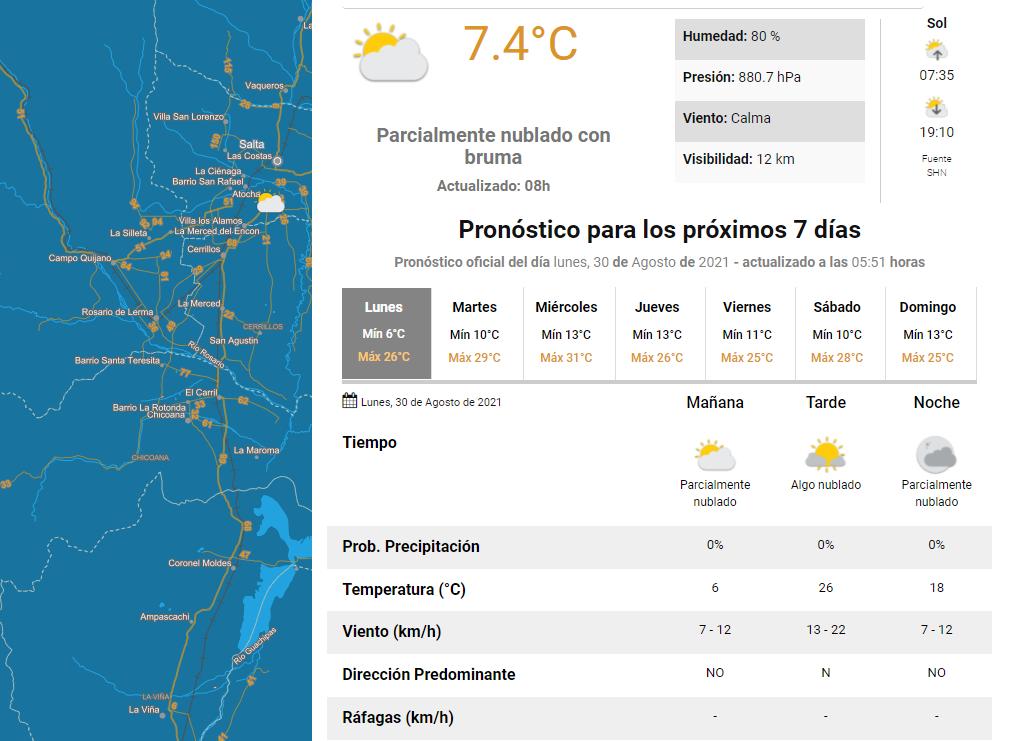 clima lunes 30 agosto